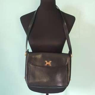 Pourchet paris vintage leather 2 way bag