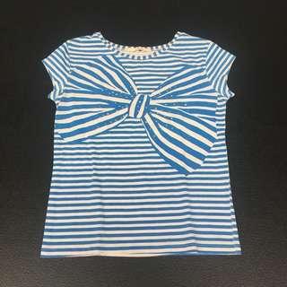 Blue Striped Ribbon Shirt