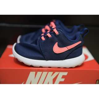 NIKE ROSHE ONE (TDV) 749425-411 6C 12CM 藍色粉勾勾 室內學步鞋