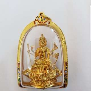 TEMPLE. (WAT Ruabang si Thong).PHRA PHROM .SOLID GOLD.W/CASING. Strongly Blessed By L.p. Chamnan Maha surasak. Kurba BOON yang .L.p. Diu and many more.In the year BE.2557.