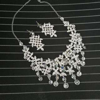 🆕新娘攝影派對 閃石頸鏈耳環 Wedding photo shoot Bridal necklace and earring set