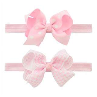 🦁Instock - 2pc pink headband, baby infant toddler girl children sweet kid happy abcdefgh hello there