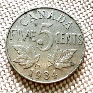1934 Canada 5 cents coin.