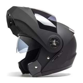 Matte Black Full Face Flip Up Motorcycle Bike Modular Helmet with Double Inner Lens