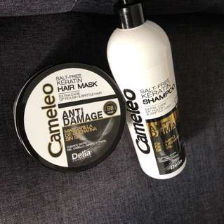 Cameleo Salt Free keratin Shampoo and anti damage hair mask