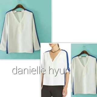 🐬White combine blue blouse