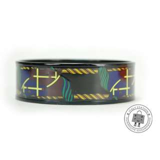 (NEW)Hermes 104205FY / 65 PRINTED QUADRIGE / 1IN ENAMEL 65CM BRACELET BKHW, MULTICOLOR / 14全新 手鐲 手鈪 黑色