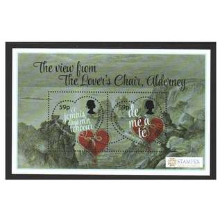 ALDERNEY 2018 STAMPEX VALENTINE'S DAY HEART SHAPED (THE VIEW FROM LOVER'S CHAIR) SOUVENIR SHEET OF 2 STAMPS IN MINT MNH UNUSED CONDITION