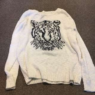 Tiger print white knit sweater