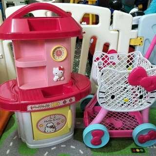 Kitty 家家酒玩具 廚房+購物推車