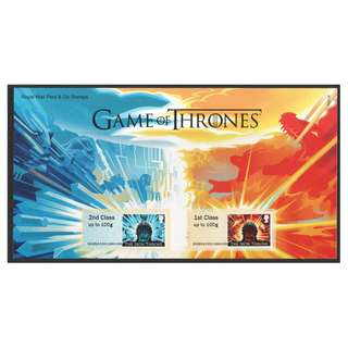 GREAT BRITAIN UK 2018 GAME OF THRONES POST & GO STAMPS LABEL WITH FOLDER OF 2 STAMPS IN MINT MNH UNUSED CONDITION