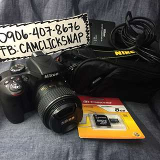 Nikon d3300 with 18 55mm vr lens and accesories like brandnew FREE BAG