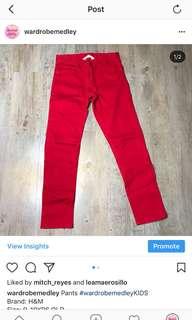 H&M red pants W24-25