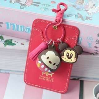 Cardholder with Keychain and Disney Toy Figurine (A)