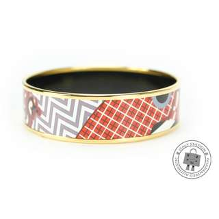 (NEW)Hermes PRINTED 1IN ENAMEL 65CM BRACELET GHW, MULTICOLOR全新 手鐲 手鈪