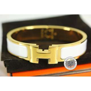 (NEW)Hermes H700001F CLIC CLAC H 0.5IN WIDE ENAMEL PM BRACELET GHW, WHITE / 31 全新 手鐲 手鈪 白色 金扣