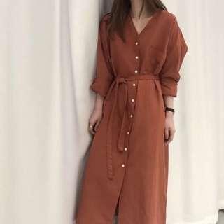 正韓麻棉氣質v領襯衫洋裝