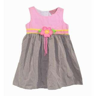 CHIANELLE Pink Brown Checkered Toddler Girls Casual Dress