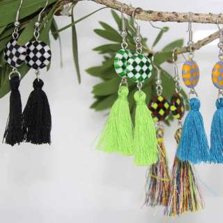 Checkerboard Tassel Earrings