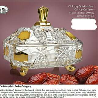 Oblong Golden Star Candy Canister