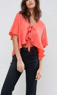 BNWT ASOS Tie Front Blouse with Frill Sleeve