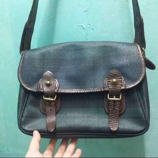 authentic Polo Ralph Lauren vintage tartan print plain leather bag