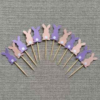 12pcs Easter Bunny Baby Shower Cupcake Toppers