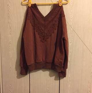 💋巴洛克式 小V領 棕色上衣