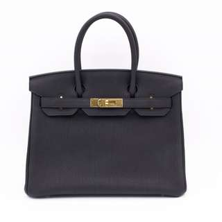 (second hand) Hermes 027633 BIRKIN TOGO 30 TOTE BAG GHW, BLACK / CC89 二手 手袋 黑色 金扣
