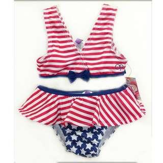 Ocean Pacific UPF 50+ Girl's US Flag Swimwear Swimsuit