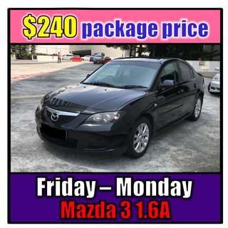 Fri to Mon Car Rental (3-Day Weekend Package) Mazda 3 1.6A
