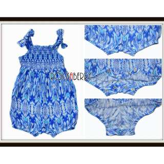 Rare Editions Blue Tribal Smocked Bubble Snap-on Baby Romper