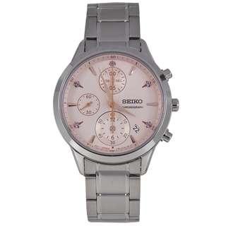 SNDV85P1 SNDV85P SNDV85 Brand New Seiko Quartz Date Chronograph 100% Genuine Analog Stainless Steel Strap Womens Casual Watch w/ Warranty