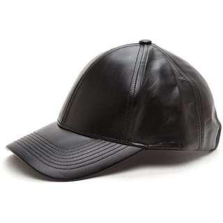 unisex black leather cap
