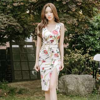 Floral v Neck Slit Front Bodycon Midi Dress