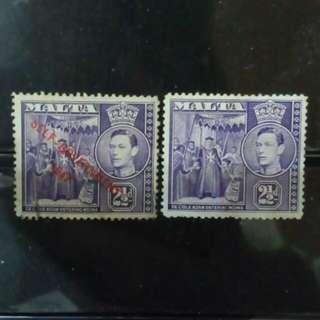 [lapyip1230] 英屬馬爾他 1947年 原票 + 自治政府加蓋票