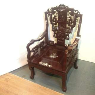 Rosewood  and mother of pearl antique oriental armchair