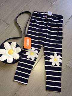 Gymboree Flower Leggings and sling bag Set