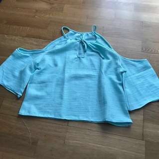 Halter Neck Mint Green Off Shoulder Top Instock Tie #Huat50Sale
