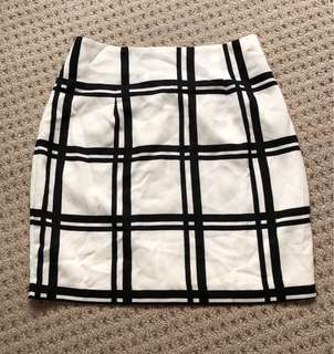 Monochrome check A line mini skirt