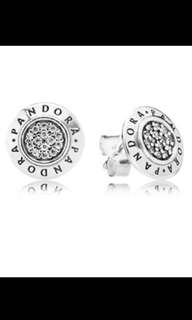 Pandora logo diamanté earrings