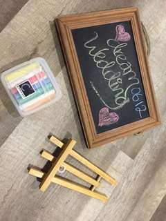 Chalk board with stand and colored chalks