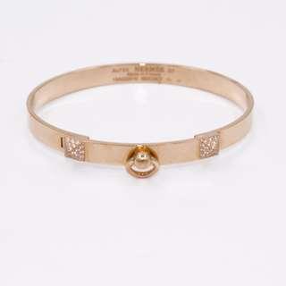 (second hand)Hermes H115406B ROSE GOLD DIAMONDS COLLIER DE CHIEN METAL ST (15-16CM) BRACELET RGHW, ROSE GOLD 二手 手鐲 手鈪 玫瑰金