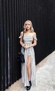 INSTOCKS Striped Off Shoulder Maxi Dress