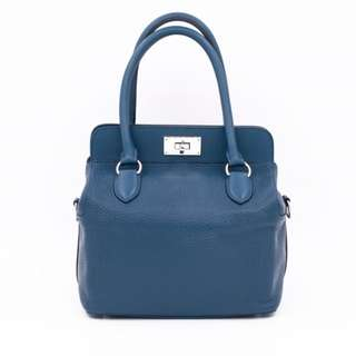 (second hand)Hermes TOOLBOX STAMP T TAURILLON CLEMENCE 20 TOTE BAG PHW, COLVERT / CKAB二手 手袋 藍色 銀扣
