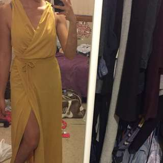 Yellow mustard multiway wrap maxi dress with side split