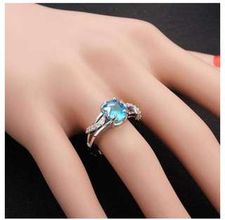 18K Platinum Plated Oval Zircon Leaf Finger Ring For Women