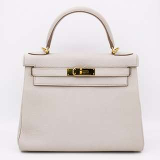 (second hand)Hermes RETOURNE KELLY TOGO 28 TOTE BAG PHW, BETON / CC8L [STAMP A] 二手 手袋 白色