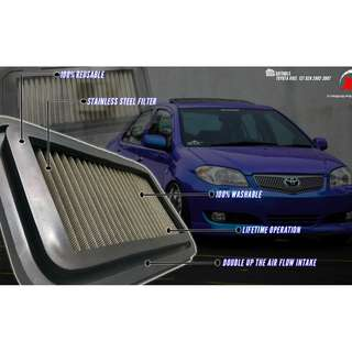 AIR FILTER DROP IN STAINLESS STEEL WASHABLE BLITZ TOYOTA VIOS 1ST GENERATION 2002 - 2007 ALZA MYVI KANCIL GEN2 WIRA WAJA SAGA SATRIA