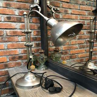 Silver Satin Table Lamp Adjustable Head & Arm Retro Industrial Style Home Decor